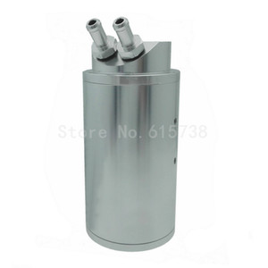Silver Oil Catch Tank Aluminum Reservoir Breather Can Kit Car Engine