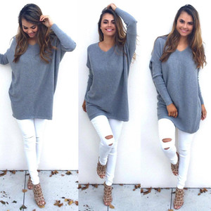 Wholesale-Womens V-neck Long Sleeve Sweaters Cardigan Coat Long Sleeve Jumper Loose Sweater Top