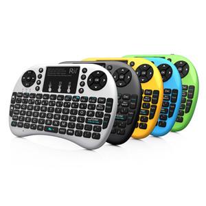 Rii i8 + 2.4G Mini Teclado Sem Fio com Retroiluminação Retroiluminada Multi-touch Touchpad EUA Layout Handheld para Andriod TV Box HTPC PC