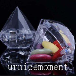 Yeni Gelenler-20 adet Güzel plastik şeffaf elmas şekli şeker kutusu düğün favor kutuları