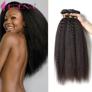 """Cheveux vierges brésiliens de luxe Kinky Straight Hair 3 Bundles 8A Bundles Yaki grossier 8 """"-30"""" Bundles de tissage brésilien Italien Yaki Straight"""