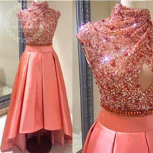 Il corallo sequined di cristallo alto basso prom dresses immagini reali 2017 collo alto corto anteriore lungo abito da sera abito da sera keyhole partito