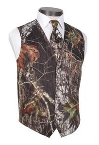 2019 Yeni Camo Damat Yelekler V Boyun erkek ülke Düğün Giyim Yelek Realtree Bahar Kamuflaj Slim Fit erkek Yelekler (Yelek + Kravat) Custom Made