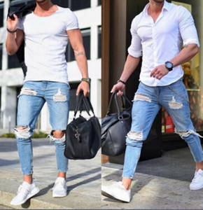Mens Jeans Skinny Light Blue Holes Ripped Pencil Pants Male Slim Fit Long Trousers