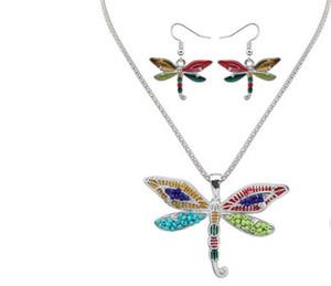 Smalto Sea Horse Angel Wing Collana Butterfly Starfish Orecchini Set Argento polsino dell'orecchio Maxi gioielli smalto regalo delle donne