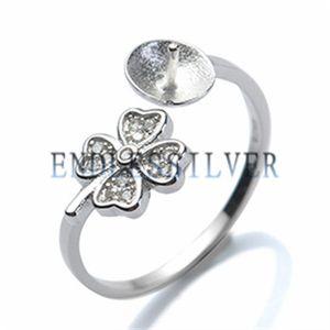 Configurações do anel Em Branco Base Trevo Da Sorte Quatro Folhas 925 Sterling Silver DIY Apreciação Jóias Pérola de Montagem para a Festa de Pérola