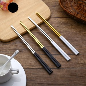 Wholesale- High Quality 1 Pair Stainless Steel Titanium Plating Chopsticks Chop Sticks Portable Tableware