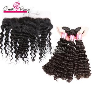 Greatremy® 8A brasileña virginal del cabello frontal cierres 13 * 4 profunda frontal del cordón de la onda con la armadura del pelo Bundles blanqueados Nudos