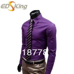 Großhandel 2016 Herrenhemden Solide Schlank Langarm Marke Arbeitskleidung Chemise Homme Camisa Social Masculina Herren Hemden