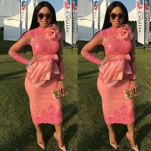 2018 Appliques il merletto africano Fiore Prom Dresses Con mano pura maniche lunghe di lunghezza del tè da sera in chiffon increspature peplo Party Dress