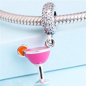 2017 New 100% 925 Sterling Silver Fruity Cocktail Dangle Charm Bead Fits European Pandora Jewelry Charm Bracelets
