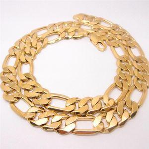 60cm 남자 14K 옐로 솔리드 골드로 채워진 Figaro Necklace Chain Link Flat Hammered Wide 12mm 3/1