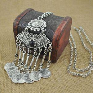 Wholesale-2016 Fashion Gypsy Bohemian Boho Schmuck Antik Silber Quasten Lange Carving Münzen Halskette Für Frauen Edlen Schmuck