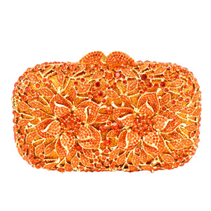 Wholesale- Flower Pattern Evening Bag Blue  Crystal orange Evening Clutch Bag Gold Diamond Party Purse Silver Banquet bag 88165