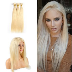 Blonde Pre Plucked 360 Full Lace Frontal Sedoso Recto 613 Paquetes de cabello con 360 Lace Band Frontal Con Baby