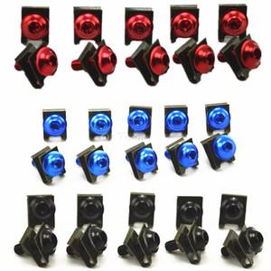 10pcs / lot CNC tornillos de perno de carenado de aluminio Set accesorios de motocicleta Universal rojo / negro / azul / plata