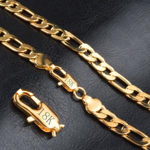 Moda 18K chapado en oro real Figaro cadenas collar pulsera para hombres collares pulseras con 18 K sello Hot Men Jewelry envío gratis