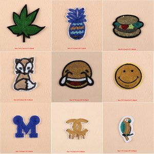 10 adet Emoji Logosu Akçaağaç Yaprağı Tilki Demir On Patch Giyim Için Pullu Yamalar Kot Ceket parches ropa Glitter Işlemeli Patchwork Aplikler