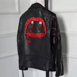 Dentes de sangue Print Back Mulheres Jaquetas de couro genuíno 100% Genuine Leather Street Fashion Ladies Jackets