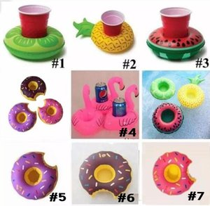 Flamingos Donut Watermelon Pineapple Inflatable Coasters Pool Donut Floating Bar Coasters Floating Drink Cup Holder Bath Toys
