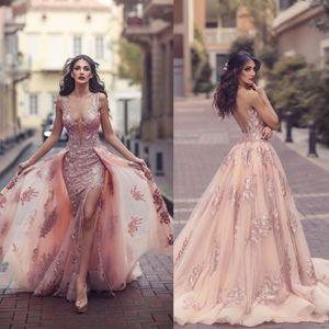 Saudi Arabisch über Rock-Nixe-Abend-Kleider 2020 Top-Qualität Sheer Backless V-Ausschnitt Appliques mit Capes lange Abschlussball-Partei-Split-Kleider