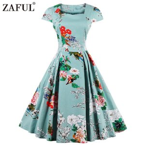 Wholesale- ZAFUL Women plus size clothing Audrey hepburn 50s Vintage Flower Print robe feminino Ball Gown Party Dress Vestidos