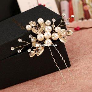 6 stücke Gold Blume Blatt u Form Haar Sticks Perle Clip Vintage Haar Pins Hochzeitszubehör Kristall Braut Kopfstück Schmuck