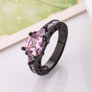 Мода РОЗОВЫЙ Циркон Черный Позолоченный Подарок Обручальное Обручальное Кольцо Любовника Sz 6-10
