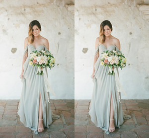 2020 New Sexy vestidos de chiffon dama de honra para Convidado de Casamento Vestido Off Shoulder Side Dividir Trem da varredura Plus Size partido dama de honra Vestidos