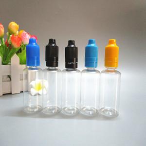 1500pcs / lot boş 30ml pet eliquid vape ejuice plastik damlalıklı şişe sabotajı belirgin çocuklara kapaklar e- çiğ yağ iğne şişesi ücretsiz