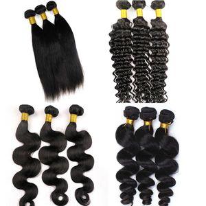 Capelli umani vergini fasci trame brasiliane 100% non trasformati 8-34inch peruviano indiano malese mongolo capelli umani tesse estensioni