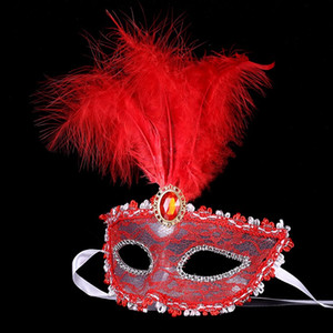 Donne Lace Sexy maschera Hallowmas veneziana maschera per l'occhio mascherata maschere di Halloween con la piuma di compleanno di Pasqua principessa maschera festa da ballo MOQ: 10 PZ