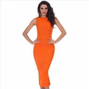 202 летнего платье женщин сексуальных знаменитостей платья партии платье повязки Runway Bodycon платье O-образный вырез полые из клуба Vestidos