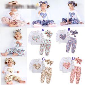 La niña INS en forma de corazón trajes de niño de la flor infante corta ocasional de la manga larga camiseta + pantalón + Pelo 3pcs banda conjuntos de pijamas de la ropa B