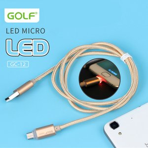 Original Golf LED luz metal USB Braid dados cabo de carga Micro cabo de carregamento para Android Phone Samsung Carregador Rápido Cyberstore