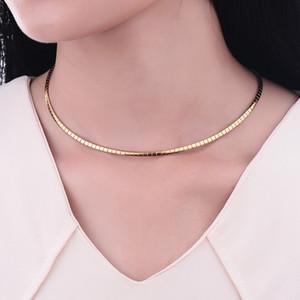 Mulheres Colar de aço inoxidável 316L 4MM Gargantilha Colar para Snake Cadeia Choker 2016 moda jóias colares frete grátis