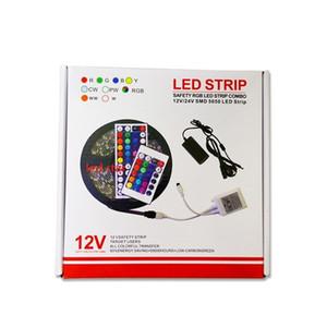 RGB Led Şeritler Işık Kiti 5 M 300 LEDs SMD 5050 12 V Led Şeritler Su Geçirmez + 44 tuşları Denetleyici + Güç Sürücüleri + Zarif Ambalaj Kutusu