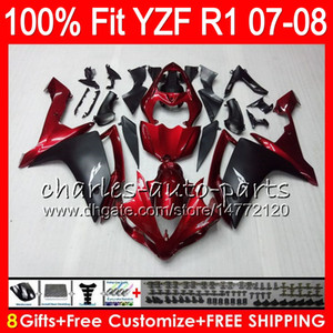 8Gifts 23Colors Injection Pour YAMAHA YZF1000 YZFR1 07 08 YZF 1000 Rouge foncé 37HM19 YZF-R1 07-08 YZF-1000 YZF R 1 YZF R1 2007 2008 Carénage