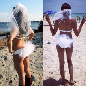 Bachelorette Bikini Veil Beach Bridal Wedding Veil With Comb Cut Edge Tulle White Croup Booty Veil Hen Party Two-piece Set