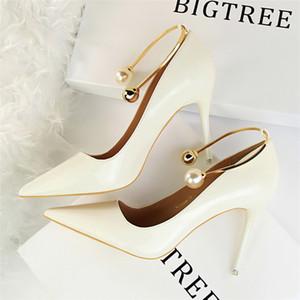 designer metallo decorazione perla scarpe donna pompe donna mary jane scarpe italiano marchio bigtree scarpe rosso intenso tacchi alti nero bianco