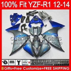 YAMAHA YZF-R1 için 12 çift Enjeksiyon 12 13 14 YZF R1 12-14 parlak gri 96NO114 YZF 1000 YZF R 1 YZF1000 YZFR1 2012 2013 2014 Fairing gri mavi
