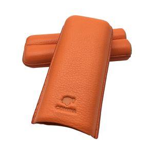 İyi Fiyat 2 Tüp COHIBA Turuncu renk Fantezi Hediye Kutusu ile Yumuşak Deri Puro Kılıfı Tutucu
