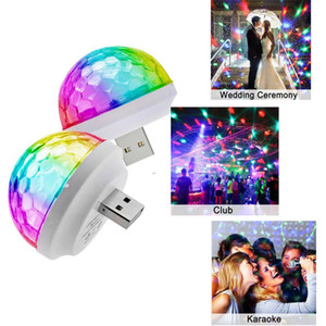 Universal Adattatore USB Mini LED Disco Light KTV Home Atmosfera Luci LED Crystal Ball Sound Attivato Home Entertainment Light 5V USB / Mic
