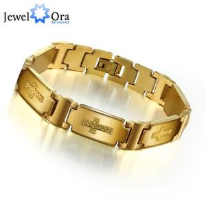 Bracelet en acier inoxydable 304L avec bracelet plaqué or pour homme (JewelOra BA101127)