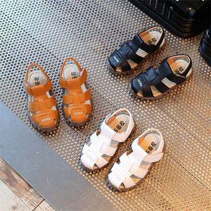 2017 Yaz Çocuk Günlük Ayakkabılar Erkek Kadın Yumuşak Deri Sandalet Bebek Parmak Cap Örtü Boys PU Deri Sandalet Çocuk Spor ayakkabılar