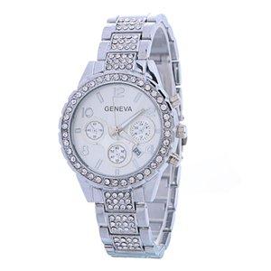 Heiße populäre Unisex mens Frauen genf Diamant Datum Kalenderuhr Luxuxlegierung Metall aus rostfreiem Großhandel Art und Weise Damen Quarzuhren