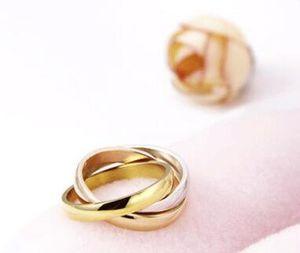 Bague en or Bague multicolore Bijoux Fashion Corée du Sud Accessoires en gros Bague main pour les femmes bandes de mariage Anneaux DHL gratuit Cadeau de Noël