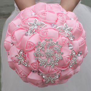 Bouquet De Mariage Rose Bouquet De Mariée Faite À La Main Douce 15 Bouquets De Quinceanera Perles Cristal Strass Rose De Mariée Tenant La Broche W292-4