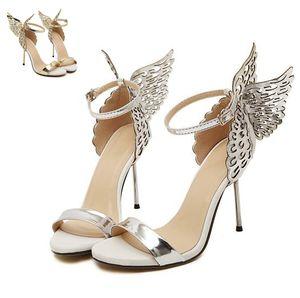 소피아 뱀파이어 다이어리 여성 환상의 나비 날개 하이힐 샌들 금은 결혼식 신발 크기 (35) (40)에