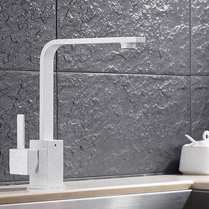 2017 Nuovo Progettato Deck Mounted Kitchen Sink Faucet Con Quarzo Pietra Decorato Universale Rotante / Acqua Calda e Fredda Tap Torneira Torneiras